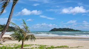 Песчаное побережье длиной 2,5 километра окружено кокосовыми пальмами и широколиственными деревьями, в тени которых можно принимать воздушные ванны.