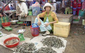 Это небольшой открытый рынок на пляже, здесь продают рыбу, фрукты и недорогую одежду.