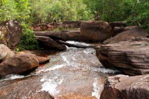 Ручей протекает по живописным местам, где пышная растительность обрамляет красновато-коричневые большие каменные плиты.
